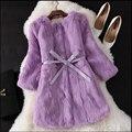 Toda La Piel Verdadera Piel De Conejo Natural Fur Coat Nueva Invierno Largo escudo de corea mujer de tres cuartos de manga abrigos de piel suave con a cinturón