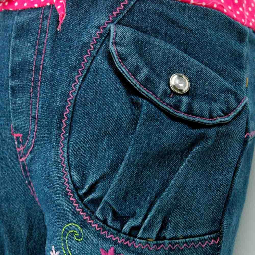 2-6Y Kids Slim Jeans Teens Blumen Sticken Strass Weibliches Kind - Kinderkleidung - Foto 4