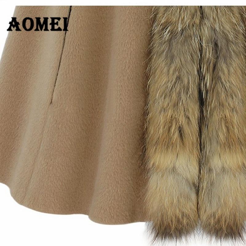 Зимний женский плащ с капюшоном, кашемировая шерсть, воротник из искусственного меха, пончо, Осеннее шерстяное пальто, женская верхняя одежда, манто, одежда