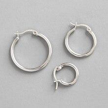 HFYK 925 серьги из стерлингового серебра толщина 2 мм Серьги-кольца для женщин круг серьги букле d'oreille украшения из серебра 925 пробы