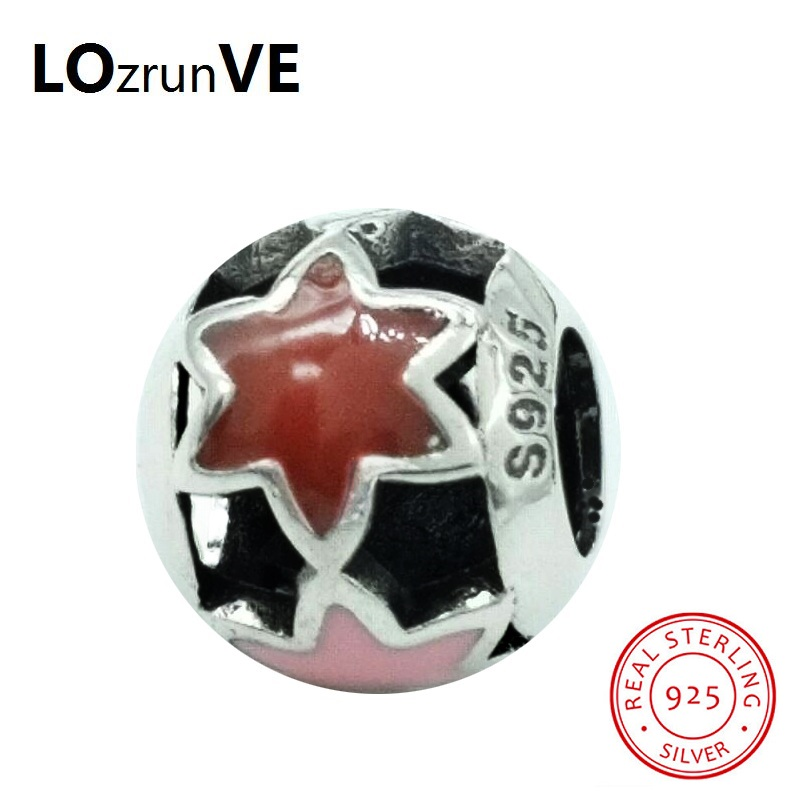 LOZRUNVE Original 2018 Brand S925 DIY Beads Jewelry Vintage Star Sterling Silver Chamrs Women fit Bracelet Necklace Wholesale