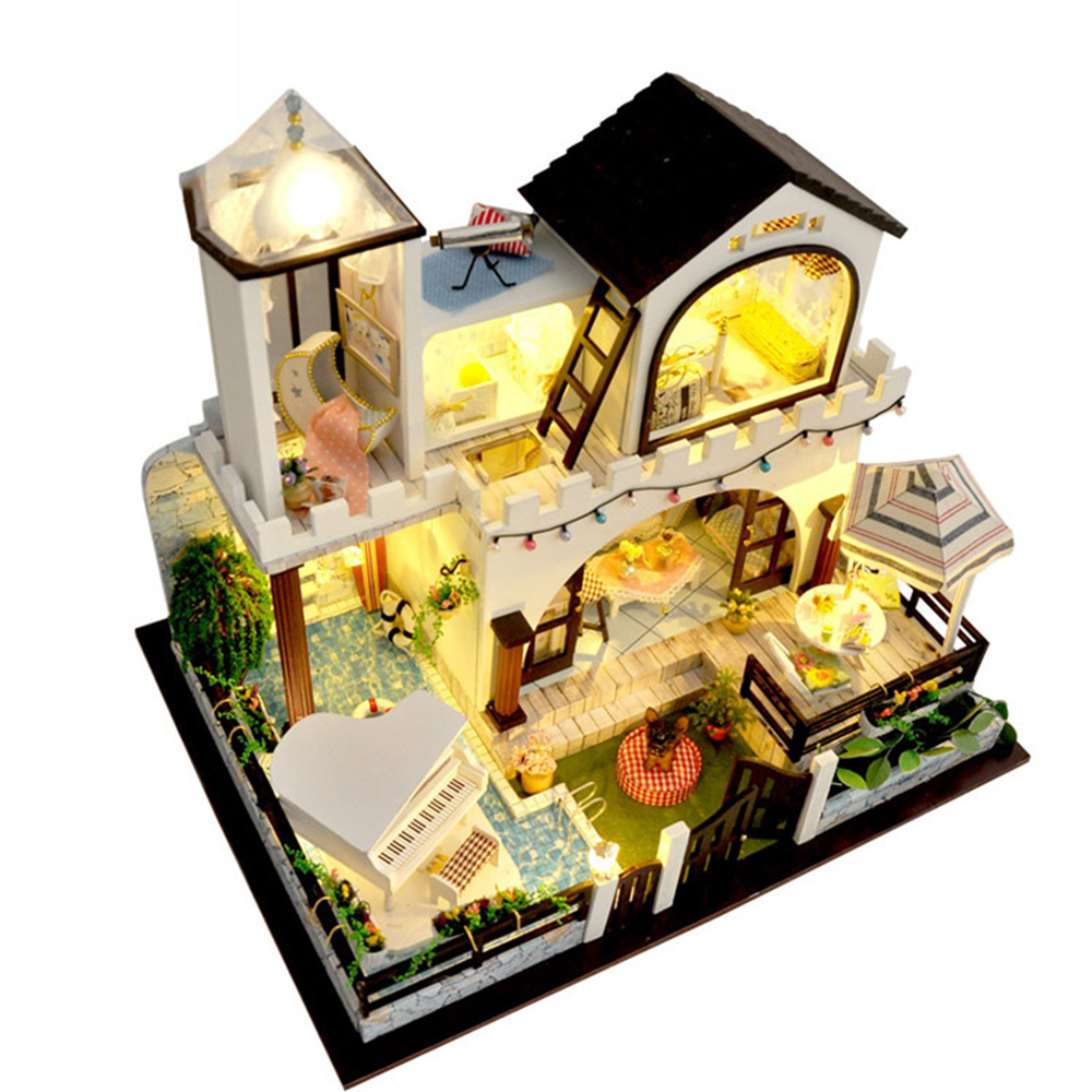 DIY Miniature Room Wooden Doll House Star Island Holiday with Furniture LED Lights Music Box Dollhouse Toys for Children