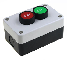 цена на 22mm button switch white control plastic water tank STOP /START red green Urgent stop button industrial control box 105 * 68 mm