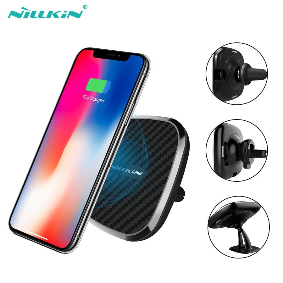 10 W Qi inalámbrico para coche cargador rápido Nillkin 2 en 1 magnético vehículo Mount Phone titular de teléfono móvil Pad para iPhone X /8/8 Plus para Samsung S10/S8