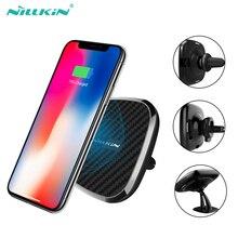10W Qi auto drahtlose ladegerät schnelle Nillkin 2 in 1 Magnetische Fahrzeug Halterung Telefon Halter Pad Für iPhone X/8 + für Samsung S10/Hinweis 10