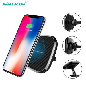 Image 1 - 10W Qi bezprzewodowa ładowarka samochodowa szybka Nillkin 2 W 1 magnetyczny uchwyt samochodowy uchwyt telefonu Pad dla iPhone X/8 + dla Samsung S10/uwaga 10