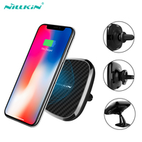 10W Qi car wireless charger fast Nillkin 2 in 1 Magnetic Vehicle Mount Phone Holder Pad For iPhone X/8+ For Samsung S10/Note 10