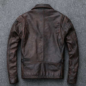 Image 5 - Free shipping,Asian plus size mens genuine leather jacket,vintage brown casual cowhide coat,Brand new slim motor jackets.sales.