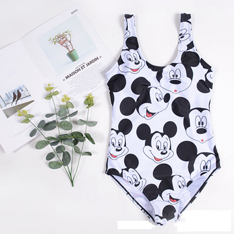 <font><b>2018</b></font> <font><b>Sexy</b></font> <font><b>Bikini</b></font> Women Swimsuit Push Up Swimwear Cross Bandage English Mickey Alphabet Mouse Swimwear bathing suit women image