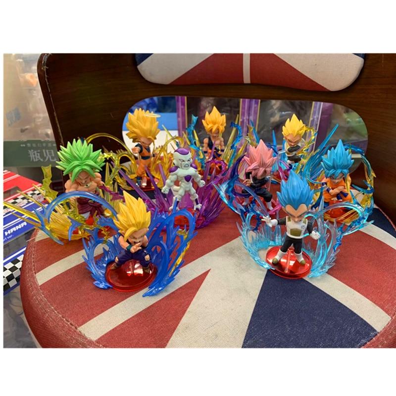 18 CM 9 pièces/ensemble Dragon Ball scènes de combat Son Goku Broli végéta figurine d'action PVC Statue modèle jouet enfant cadeau avec boîte H464