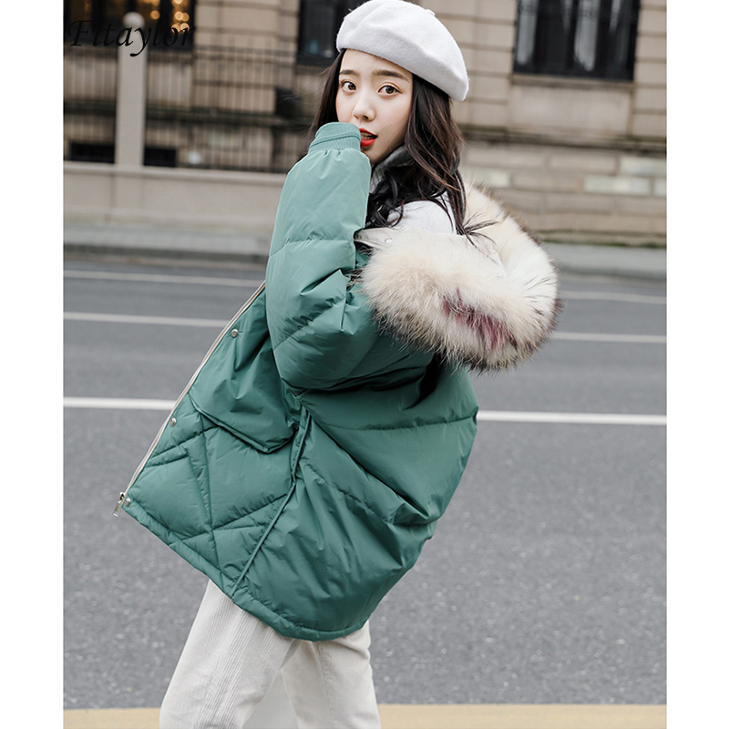 Fitaylor Large Natural Raccoon Fur White Duck   Down     Coat   Women Winter Jackets Hooded Parkas Warm Female Snow   Down   Outwear