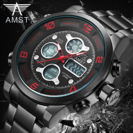 2018 AMST Brand Quartz Watch for men dual display LED digital sports watches stainless steel waterproof military clock 3020-3 tvg male sports watch men full stainless steel waterproof quartz watch digital analog dual display men s led military watches