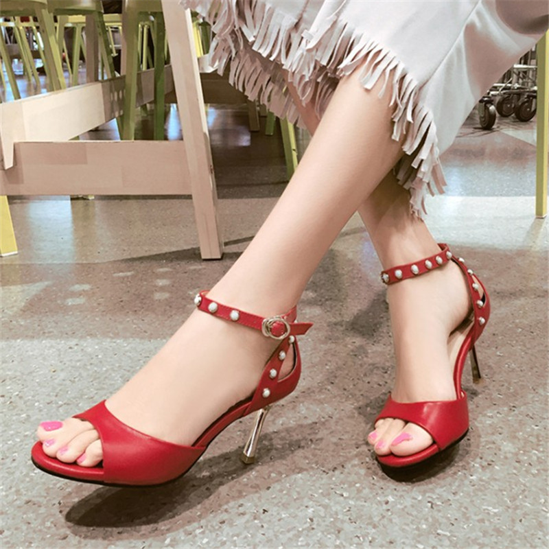 Plus Size 34-43 Fashion Sexy Summer Women High Heel Sandals Genuine Leather Rhinestone Thin High Heel Women Wedding Shoes Pumps  2017 summer new women sandals slipper shoes fashion rhinestone thick high heel female slides snadals black plus size shoes xp35