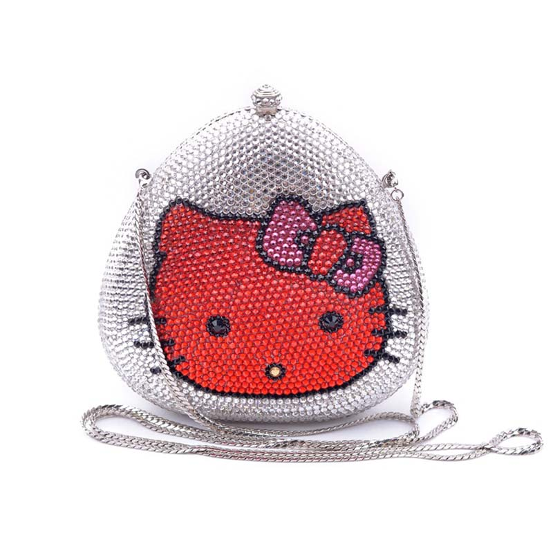 Egg Shape Hello Kitty Face Evening Bag Animal Crystal Clutch Handbag Diamond Rhinestone Party Purse Bridal Wedding Wallet luxury crystal clutch handbag women evening bag wedding party purses banquet
