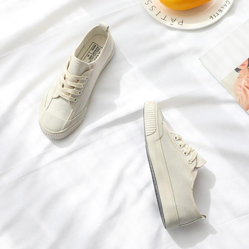 קלאסי לבן סניקרס נשים בד מזדמן נעלי נשי קיץ שרוכים שטוח מאמני אופנה לגפר נעלי