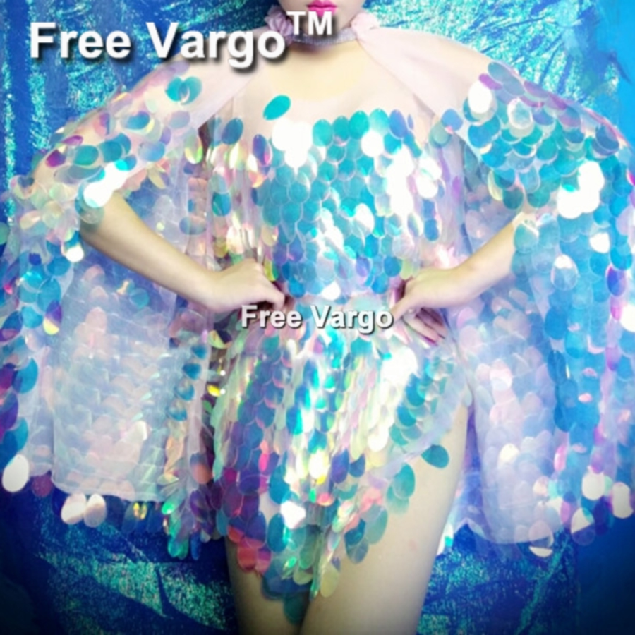 Holographic Mermaid Sequin Dress and Shawl Drag Queen Costumes Women Outfit Singer Club Stage Birthday Party