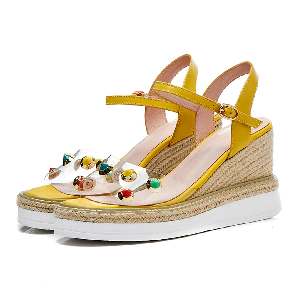 Hebilla Asumer Cuñas Mujer Cuero Zapatos Nueva Remache Sandalias Verano Moda Pink Genuino yellow Del De 2018 blanco YFwqBYH