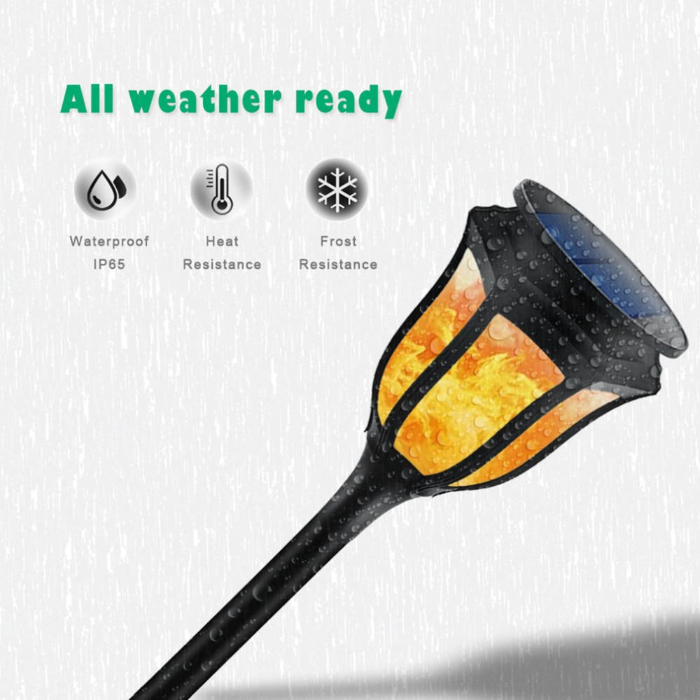 ICOCO Solar Flame Flickering LED Light IP65 Waterproof Light Control 96 LED Torch Light  ...