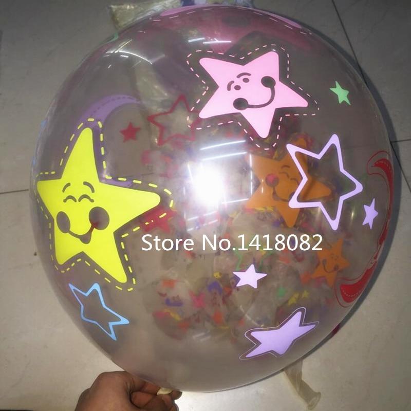 12 Inch 50pcs Transparent Star Moon Printing Balloon
