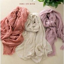 Высокое качество Женская мода чистый цвет хлопок и лен длинный шарф леди Искусство Ван большие шарфы шаль палантин 190 см* 145 см