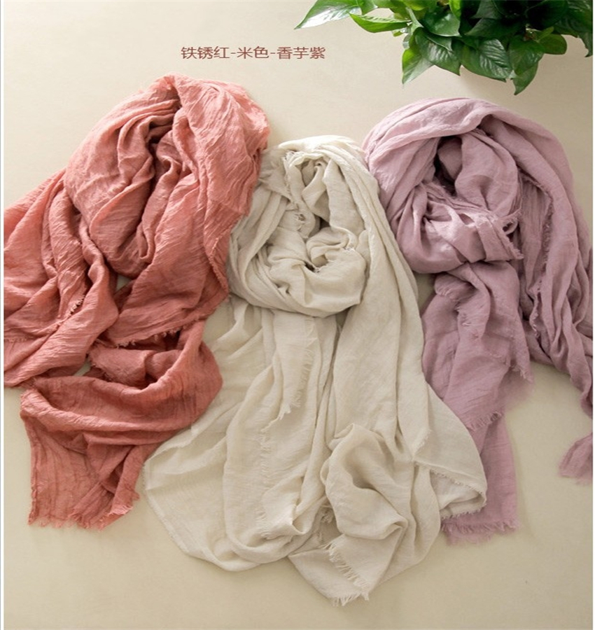 High quality women fashion pure color cotton & linen long   scarf   lady's art van large   scarves   shawl   wrap   190cm*145cm