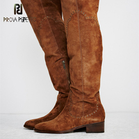 Prova Perfetto Euramercian Style Solid Design Cow Suede Leather Embroider Woman Boots Round Toe Soft Sole Over The Knee Boots