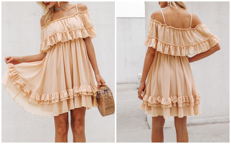 HTB1ktWYXgFY.1VjSZFnq6AFHXXaD - BeAvant Off shoulder strap chiffon summer dresses Women ruffle pleated short dress pink Elegant holiday loose beach mini dress