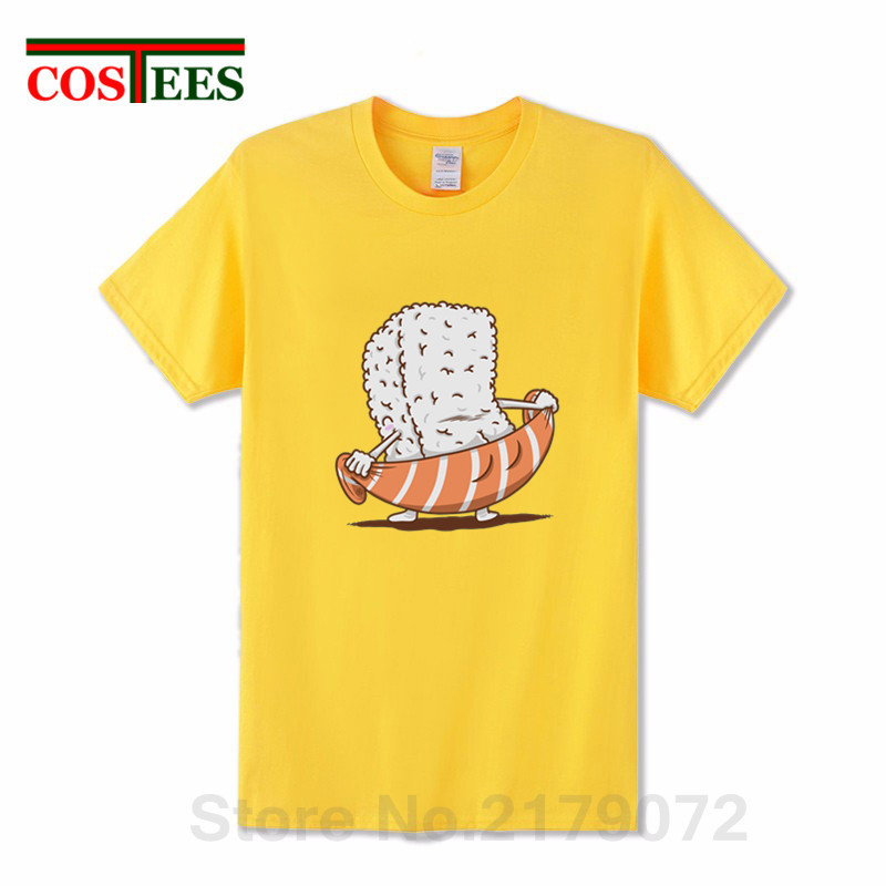 T-Shirt Men Sushi-Towel Salmon-Slice Funny Japanese Lovers for Tee Hombre Camiseta Parody