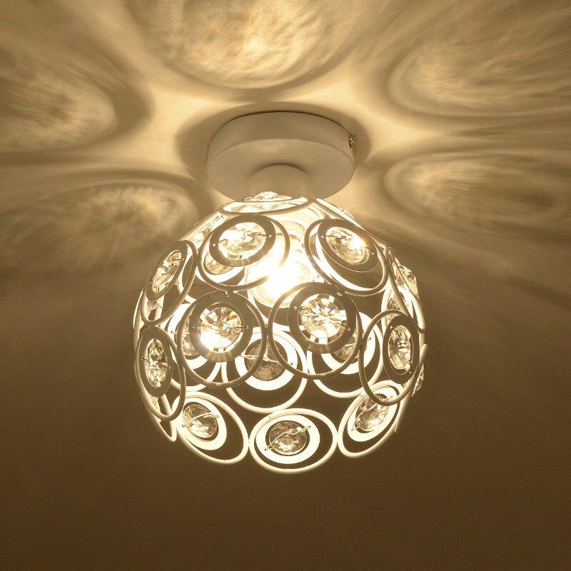 Moderne brève allée K9 boule de cristal E14 LED ampoule plafonnier maison déco chambre chrome fer plafonnier luminaire