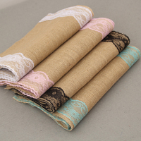 Wedding Table Runner Burlap Lace Runner Jute Table Runner Wedding Decor Shabby Chic Pink Blue Black