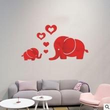 Mirror Acrylic Decorative Wall Stickers Love Little Elephant
