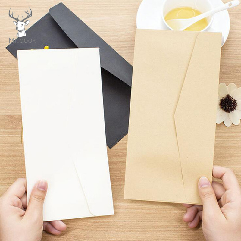 10pcs Formal Business Envelope Black White Craft Paper Envelopes For Card Scrapbooking Gifts Pure Color Paper Money Bags