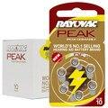 60 PCS Rayovac PEAK High Performance Hearing Aid Batteries. Zinc Air 10/A10/PR70 Battery for BTE Hearing aids. Free Shipping!