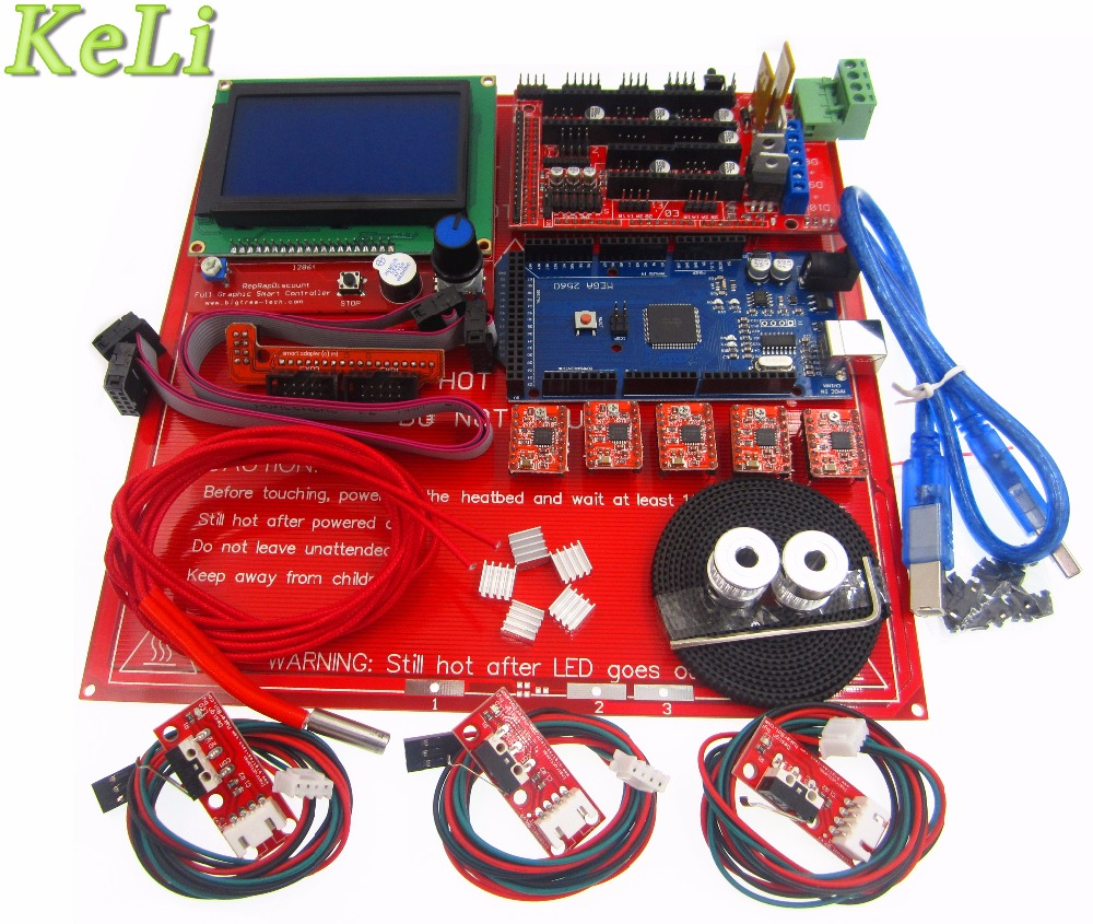 все цены на 3D Printer Kit set Ramps 1.4 board +12864 LCD Screen + MK2B Heatbed +A4988 motor driver +Controller онлайн