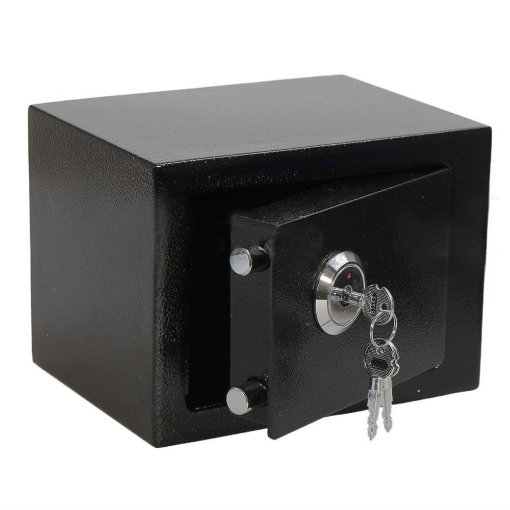 Professional and Durable Strong Iron Steel Key Operated Security Money Cash Safe Box For Home Office Jewelry Black цена и фото