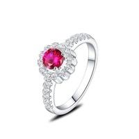 かわいい1.0ct赤ラウンド模擬r cz婚約指輪ギフト用女