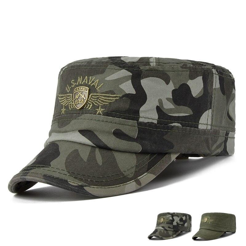 Prix pour US NAVY Camouflage Caps Hommes Extérieur Plat Armée Cap Pour Hommes Femmes Casual Sport Chapeaux de L'armée AMÉRICAINE Plat Casquettes Réglable