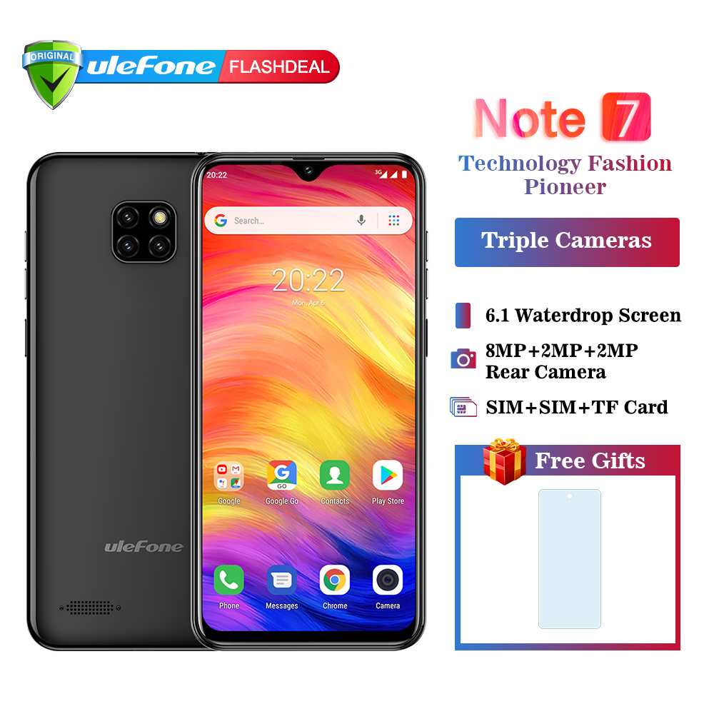 New arrival Ulefone Note 7 Smartphone 3500mAh 19:9 Quad Core 6.1 Waterdrop Screen 16GB ROM Mobile phone Cellphone Android8.1