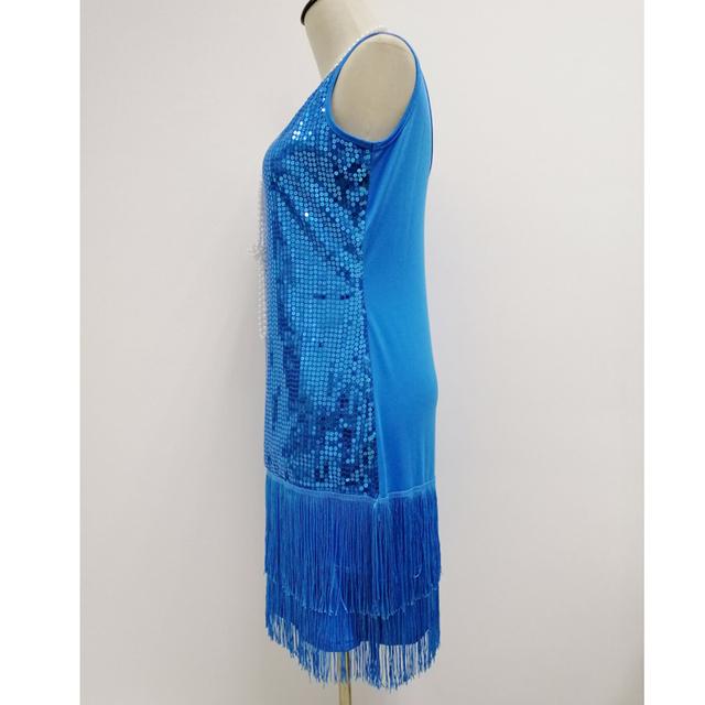 Sequin fringe flapper dress for women in blue