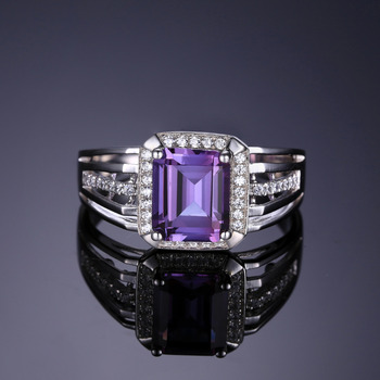 CiNily Authentic. Solid 925 Sterling Sliver Created Amethyst Cubic Zirconia Fine Jewelry for Men's Ring Size 7-8 SR011 1