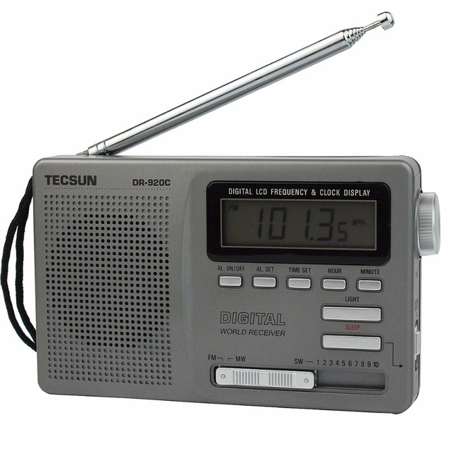 Venda quente! Tecsun DR-920C FM MW SW 12 Bandas de Rádio Digital Alarm Clock & Backlight Rádio FM Grey Y4139H