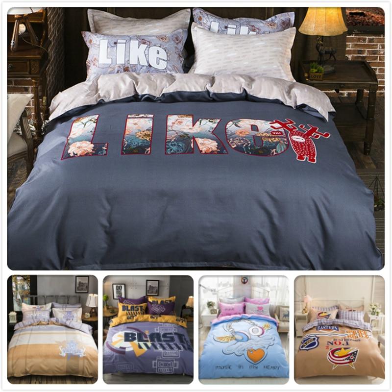 AB Side King Queen Double Single Size Duvet Cover 1.5m 1.8m 2.0m Flat Sheet Bed Linens 3/4 pcs Bedding Set Child Kids Bedclothes