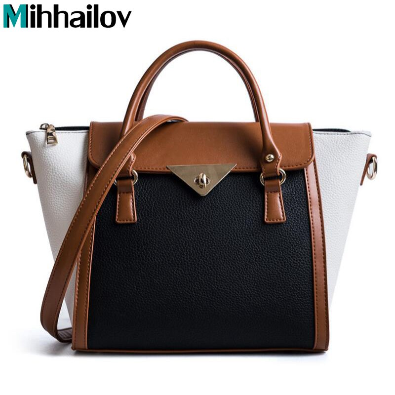Panelled Women Bag Lock Trapeze Women Casual Totes Luxury Leather Handbags Designer Famous Brand Crossbody For Women sac XS-451 luxury genuine leather bag fashion brand designer women handbag cowhide leather shoulder composite bag casual totes