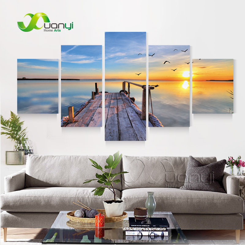 Buy 5 panel canvas art sunset seascape for Canvas prints to buy