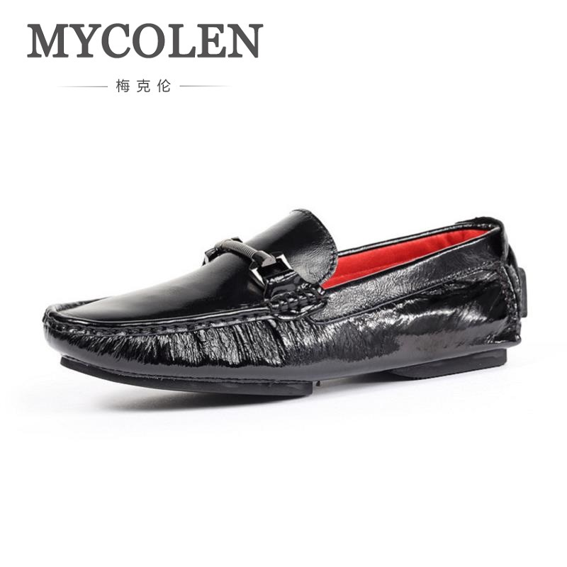 MYCOLEN Luxury Brand 2018 Spring Mens Shoes Casual Black Flat Casual Shoes Men Slip-On Men Loafers Moccasins High Quality hot sales new fashion dandelion spikes mens loafers high quality suede black slip on sliver rivet flats shoes mens casual shoes