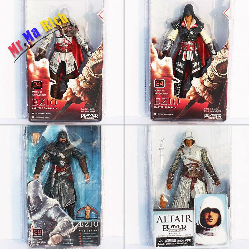 все цены на 4pcs/lot 18cm Assassins Creed High Quality Toys Assassins Creed Ezio Pvc Action Figures Model Toy