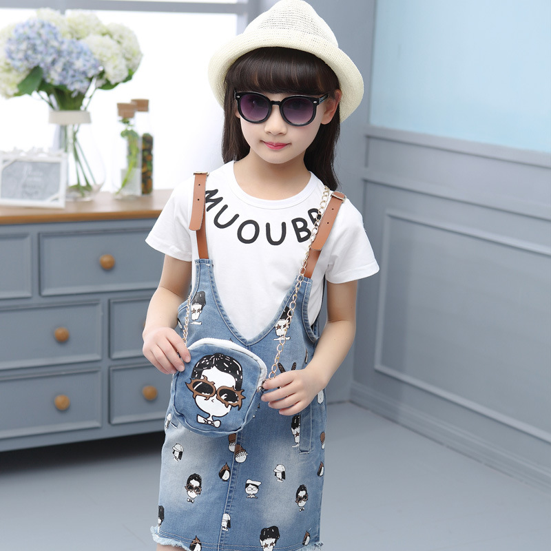 2019 new summer baby girl clothes set fashion 3 in 1 body suit tshirt+denim skirt+bag cartoon childrens overall sets