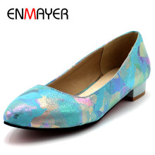 ENMAYER Brand New women Flats  Pointed Toe Summer Platform Flats Elegant Fashion Women's Casual Shoes New Summer Shoes