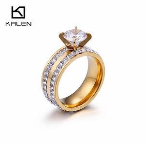Женские обручальные кольца Kalen, двухрядные позолоченные кольца из нержавеющей стали с цирконием и стразами, обручальные кольца для женщин