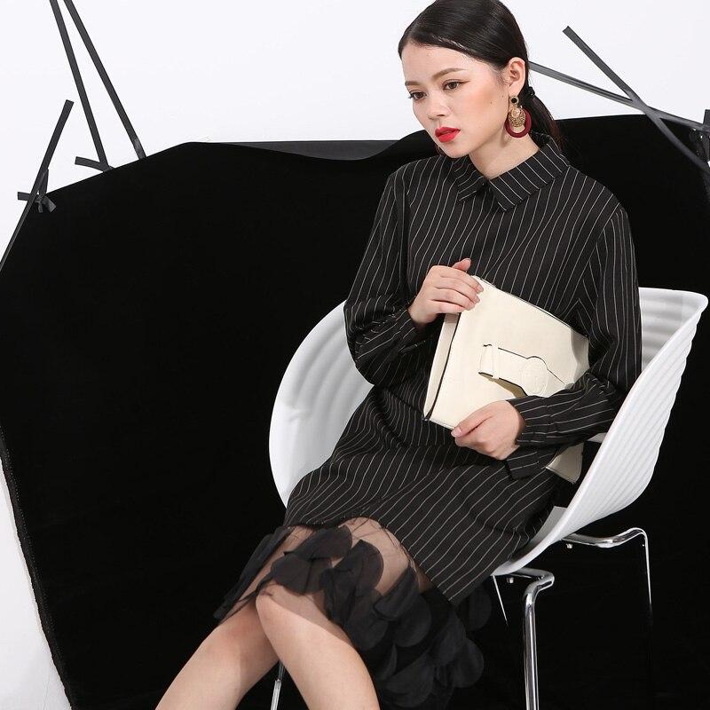 еам] зима 2017 верхняя одежда в вертикальную полоску с лацканами объемное платье шить пряжа новинки для женщин одежда оптовая продажа 4l0051